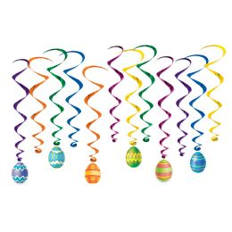 6 Units of Easter Egg Whirls 6 whirls w/icons; 6 plain whirls - Easter