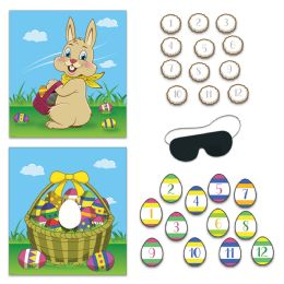 24 Units of Easter Party Games blindfold mask w/12 eggs & 12 tails included - Party Accessory Sets