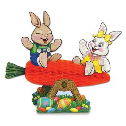 12 Units of Carrot Seesaw W/bunnies Assembly Required - Party Center Pieces
