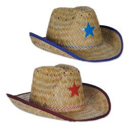 96 Units of Child Cowboy Hats W/star & Chin Strap Asstd Blue & Red Stars W/matching Trim; Medium Head Size - Costumes & Accessories