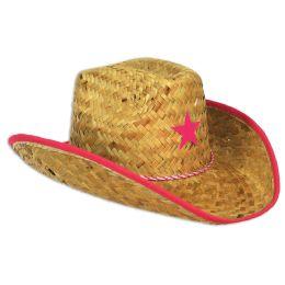 96 Units of Child Cowboy Hat W/star & Chin Strap Pink Star W/brown Trim; Medium Head Size - Costumes & Accessories