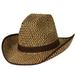 60 Units of 2-Tone Western Hat W/brown Trim & Band One Size Fits Most - Sun Hats