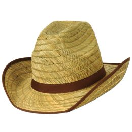 60 Units of Genuine Cowboy Hat W/brown Trim & Band One Size Fits Most - Sun Hats