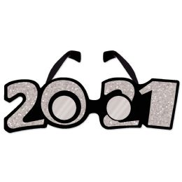 12 Units of 2021  Glittered Plastic Eyeglasses Silver; One Size Fits Most - Party Favors