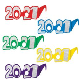 50 Units of 2021  Glittered Foil Eyeglasses Asstd Colors; One Size Fits Most - Party Favors