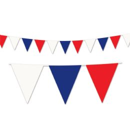 12 Units of Red, White & Blue Pennant Banner all-weather; 65 pennants/string - Party Banners