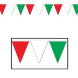 12 Units of Red, White & Green Pennant Banner all-weather; 65 pennants/string - Party Banners