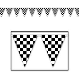 12 Units of Checkered Pennant Banner all-weather; 65 pennants/string - Party Banners