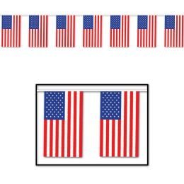 12 Units of American Flag Pennant Banner all-weather; 30 flags/string - Party Banners