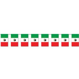 12 Units of Mexican Flag Pennant Banner all-weather; 30 flags/string - Party Banners