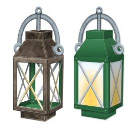 12 Units of 3-D Lantern Centerpiece Prtd 2 Sides W/different Designs; Assembly Required - Party Center Pieces