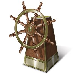 12 Units of 3-D Jointed Ship's Helm Centerpiece Assembly Required - Party Center Pieces