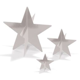 12 Units of 3-D Foil Star Centerpieces Silver; Assembly Required; 1-3 , 1-5.5 , 1-8 - Party Center Pieces