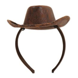 12 Units of Cowboy Hat Headband Attached To SnaP-On Headband - Costumes & Accessories