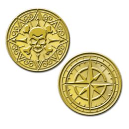 12 Units of Plastic Pirate Coins Molded Coins W/embossed Design - Party Supplies
