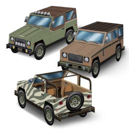 12 Units of 3-D Suv Centerpieces Assembly Required - Party Center Pieces