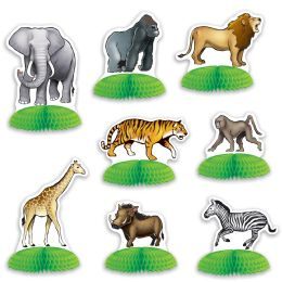 12 Units of Jungle Safari Animal Mini Centerpieces - Party Center Pieces