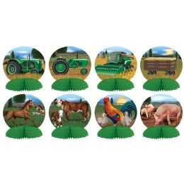 12 Units of Farm Mini Centerpieces Different Color Front & Back On Tractor Designs - Party Center Pieces