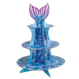12 Units of Mermaid Cupcake Stand Assembly Required - Party Center Pieces