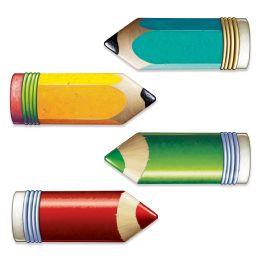 12 Units of Jumbo Pencil Cutouts Prtd 2 Sides W/different Designs - Pencils