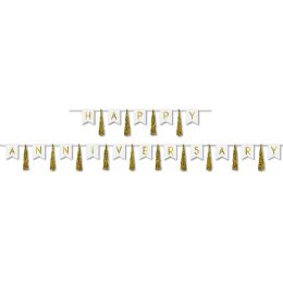 12 Units of Happy Anniversary Tassel Streamer Can Use Each Piece Separately Or Combine To Create 1 Streamer - Party Banners