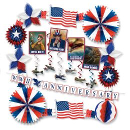 Vintage Patriotic Armed Forces Dec Kit Piece Count  24 - 4th Of July