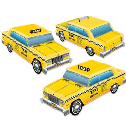 12 Units of 3-D Taxi Cab Centerpieces Assembly Required - Party Center Pieces