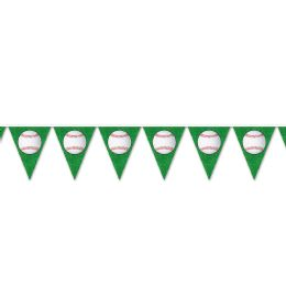 12 Units of Baseball Pennant Banner all-weather; 12 pennants/string - Party Banners
