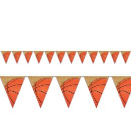 12 Units of Basketball Pennant Banner AlL-Weather; 12 Pennants/string - Party Favors