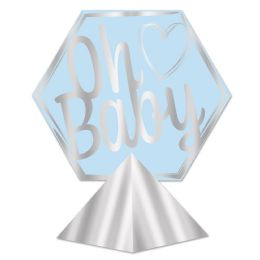 12 Units of 3-D Foil Oh Baby Centerpiece Lt Blue & Silver; Assembly Required - Party Center Pieces