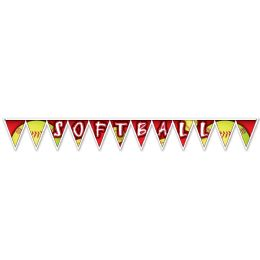 12 Units of Softball Pennant Banner all-weather; 12 pennants/string; 2 grommets - Party Banners