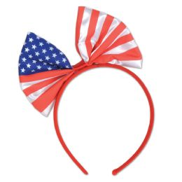 12 Units of Patriotic Bow Headband Attached To SnaP-On Headband - Costumes & Accessories