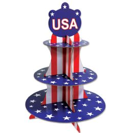 12 Units of Patriotic Cupcake Stand assembly required - 4th Of July