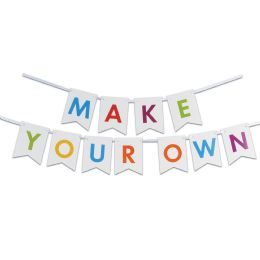 12 Units of Letter Streamer Kit 60 4.5 x 6 pennants w/12' ribbon; assembly required - Party Banners