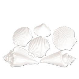12 Units of White Plastic Seashells - Party Supplies