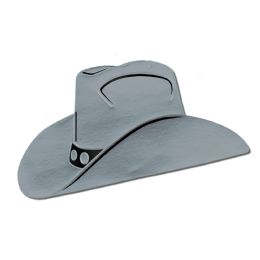 24 Units of Foil Cowboy Hat Silhouette Silver; Foil/prtd 2 Sides - Costumes & Accessories