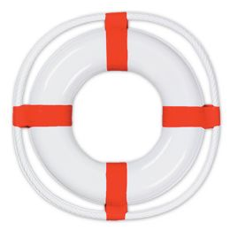 24 Units of Plastic Life Preserver White W/red Print - Party Supplies