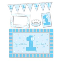 6 Units of 1st Birthday High Chair Decorating Kit Blue - Party Supplies
