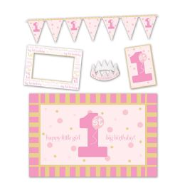 6 Units of 1st Birthday High Chair Decorating Kit Pink - Party Supplies
