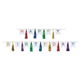 12 Units of Happy Birthday Tassel Streamer Can Use Each Piece Separately Or Combine To Create 1 Streamer - Party Banners