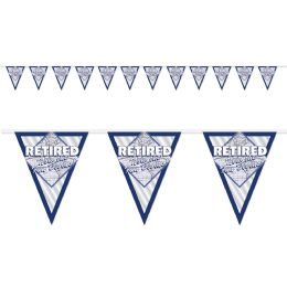 12 Units of Retired Now The Fun Begins! Pennant Bnr all-weather; 12 pennants/string - Party Banners