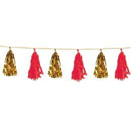 12 Units of Metallic & Tissue Tassel Garland Gold & Red; 12 Tassels/garland - Party Supplies