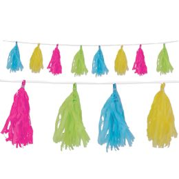 12 Units of Tissue Tassel Garland Cerise, Lime Green, Turquoise, Yellow; 12 Tassels/garland - Party Supplies