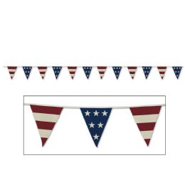 12 Units of Americana Fabric Pennant Banner 12 pennants/string - Party Banners