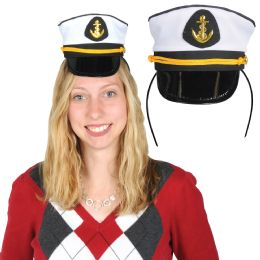 12 Units of Yacht Captain's Cap Headband Attached To SnaP-On Headband - Costumes & Accessories