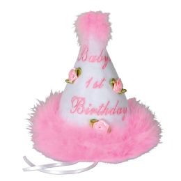 6 Units of Baby's 1st Birthday Cone Hat Pink; Medium Head Size W/ribbon Ties - Costumes & Accessories