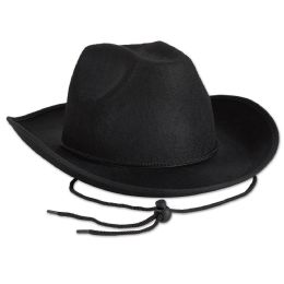 6 Units of Black Felt Cowboy Hat one size fits most - Costumes & Accessories