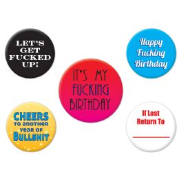 12 Units of Funny Birthday Party Buttons Asstd Designs - Party Novelties