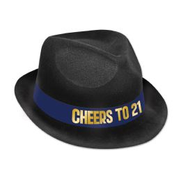 25 Units of 21st Birthday Hat plastic-backed velour; one size fits most - Costumes & Accessories