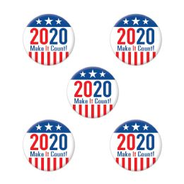 12 Units of 2020 Make It Count! Party Buttons - Party Novelties